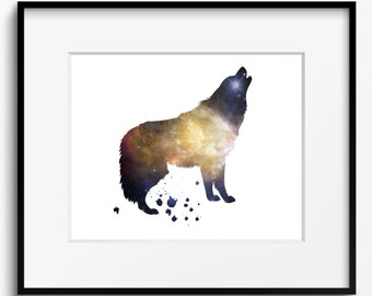 Wolf Watercolor Stars Art Print (164) Howling, Moon
