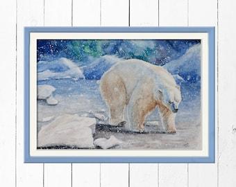 Print polar bear in the snow
