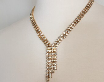 Vintage Necklace in Goldtone Crystal Clear Rhinestone