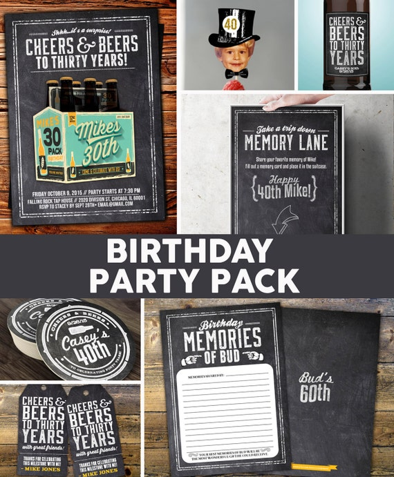 Any age cheers and beers invitation party pack beer for 40th birthday decoration packs