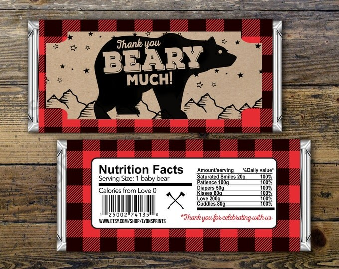 Baby Candy Bar Wrapper – lumberjack, bear  – Party Favors- shower favor, candy, lumberjack baby shower, woodland, birthday favor