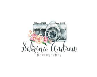 camera logo watercolor logo floral logo custom logo design premade logo watermark photography logo business logo photographers logo