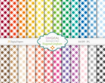 24 Diagonal Gingham Digital Paper Set- Gingham digital papers in brights colors-Gingham patterns-Rainbow colors- Gingham backgrounds