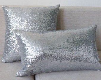 Silver sequin lumbar pillow case