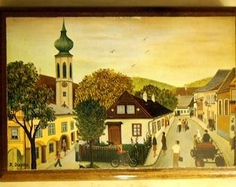 Grinzing Vienna Painted Art by Regine Dapra 1974 - Wooden - Epsteam