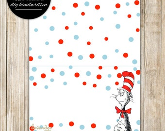 CAT in the HAT Tent Card, Dr Seuss Cat in Hat Food Tent Labels, Red Blue Polka Dots Buffet Food Cards, Dr Suess Printables, Instant Download