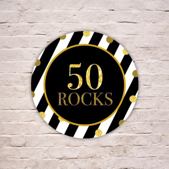 Digital 50 Rocks Labels Black And White Stripes Birthday