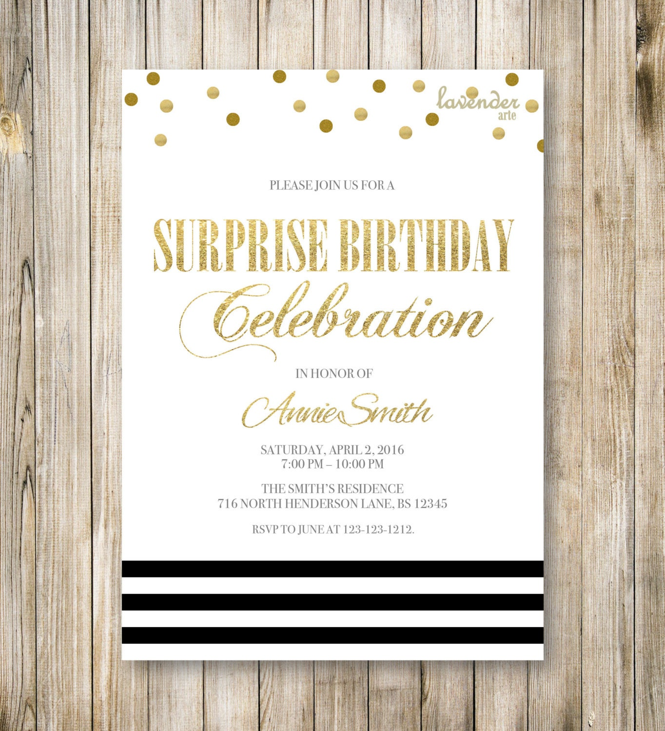 Minimalist SURPRISE BIRTHDAY Party Invitation Shhh It's A