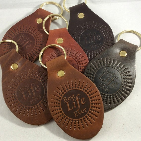 JW Lot of 6 Best Life Ever Top Grain Leather Oval Keychains