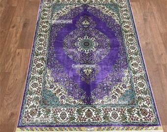 Purple Silk Hand Knotted handmade carpet/rugs 3'x4.5' 91x137cm free shipping