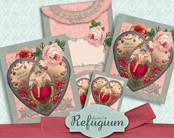 printable Tea Bag Envelope  valentine  / Digital Collage Sheet /  INSTANT DOWNLOAD