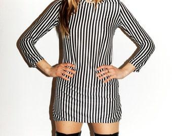 1960s Handmade Mini Dress PSCYH mod OP Art Stripes Vintage Polly Magoo 6 UK