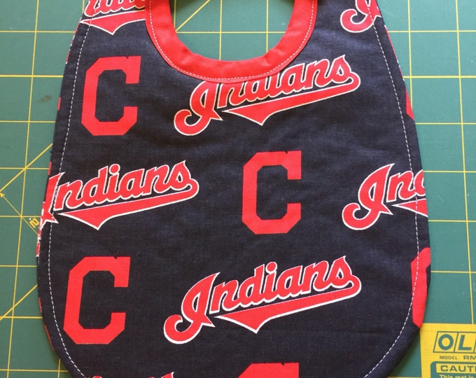 Baby Bib Cleveland Indians Baseball Team Print Fabric:  3 Sizes To Choose From!