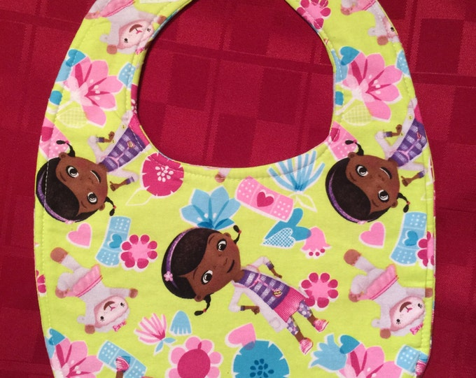 Doc McStuffins Fabric Print Baby Bib, Available in 4 Fabric Prints and 3 Different Sizes!!