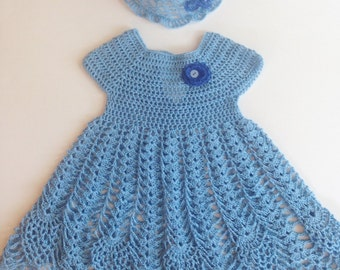 2 Set Pineapple Blue Baby Crochet Dress and Hat with Flower and Button