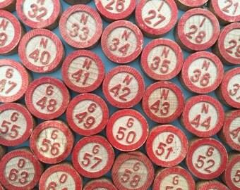 75 bingo numbers, wooden numbers, vintage bingo markers