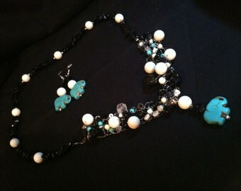Turquoise Elephant beaded and Crochet Silver Wire Necklace and Earring Set