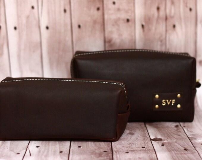 Men's Leather Toiletry Case Dopp Kit Shaving Bag OOAK perfect Christmas Gift for him | Christmas gift for dad | Christmas Gift for man
