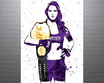 Ronda Rousey UFC Poster, Art Print, Kids Decor, Watercolor Contemporary Abstract Drawing Print, Man Cave