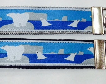 Jacquard Alaska Polar Bear Wristlet Key Fob/Lanyard:Polar Bear Ice Luggage/Backpack Tag,Teacher Badge/Whistle Holder,Souvenir,Alaska Lanyard