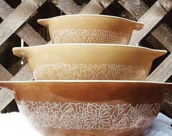 Vintage Pyrex Woodland Cinderella mixing bowls