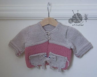 Baby Girl's Cardigan, Hand Knitted Baby Girl's Cardigan, Elephant Pocket Cardigan, Baby Cardigan, Pink Cardigan, Beige Cardigan