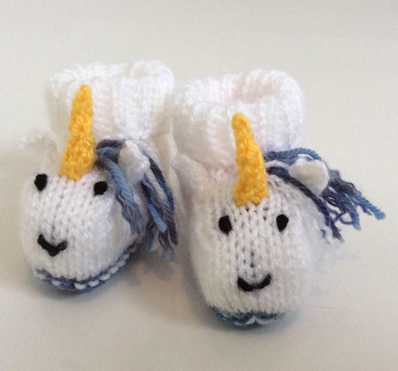 Unicorn Knitting Pattern Uk : Unicorn knitted baby booties socks shoes gift boots
