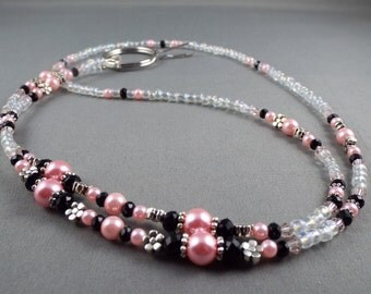 """Cute beaded lanyard necklace with bead chain 32"""" to 40"""" long ID badge holder leash , strap for eyeglasses , key card or keychain holder cute"""