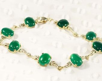 Green Agate Sterling Silver Bracelet