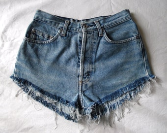 High waisted shorts, vintage blue denim jean shorts, distressed ripped frayed hotpants, grunge hipster goth shorts, waist 27 small