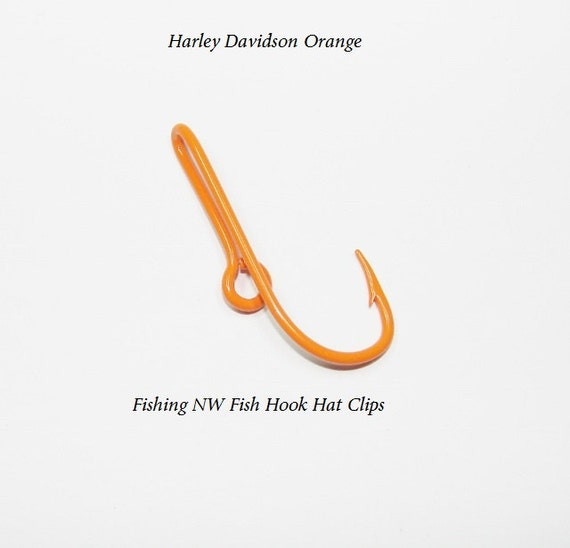 Harley davidson orange colored fish hook clip hat by for Fishing hook hat clip