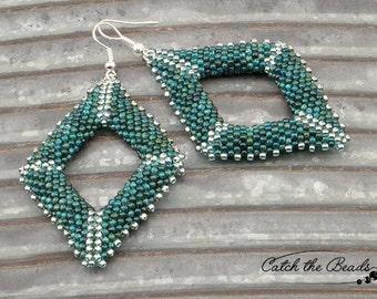 Green and Silver Geometric Beaded Earrings