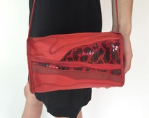 Vintage 80s Red Patchwork Leather Crossbody Bag