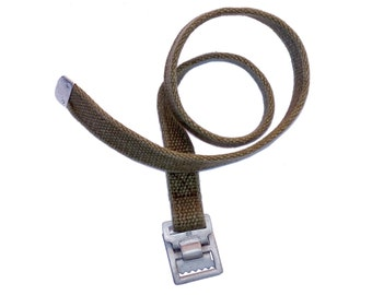 "German Army Strap 56cm long (22"") thick canvas and metal buckle - strong vintage tie down pull tight"
