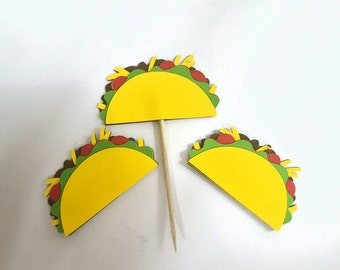 Taco cupcake toppers or scrapbook cutouts 12 pc
