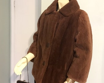 Sheared Beaver Light Brown Vintage Coat Jacket So Warm