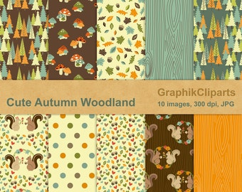 Cute Autumn Woodland Digital Papers. Autumn, Fall, Pumpkins, Fox, Squirrel, Owls, Leaves. 10 images, 300 Dpi. Jpg files. Instant Download.