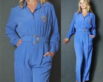 ON SALE 20% off Vintage 1980's Avant Garde Blue Periwinkle Tuxedo Crests Embroidered Pocket PantSuit Party Jumpsuit Playsuit S-M