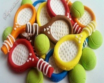 10 Edible sugar rackets 10 Tennis Balls Decorations Cakes Cupcakes Toppers
