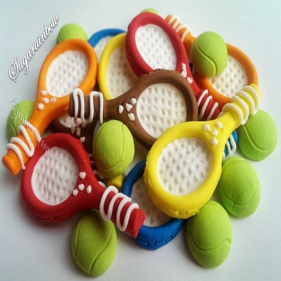 Cake Decorating Sugar Balls : 10 Edible sugar rackets 10 Tennis Balls Decorations Cakes