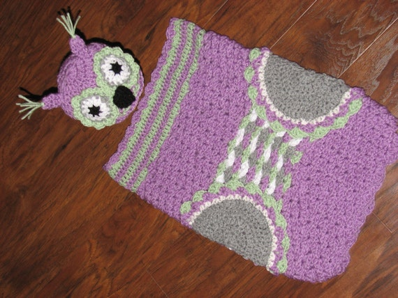 Crochet Owl Baby Cocoon : Crochet Owl Baby Cocoon with Matching Hat / Owl Cocoon / Baby Owl ...