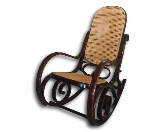 vintage thonet style bentwood cane rocking chair boho chic decor
