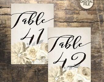 Wedding Table Numbers 36-45, Printable Table Numbers, rustic table number, boho table numbers, Wedding Printable, Wedding Signage,