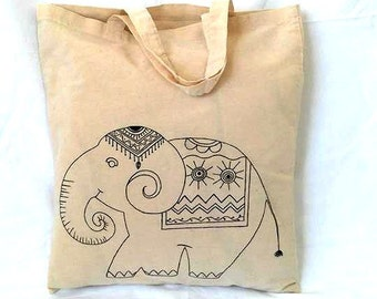 Sale, Elephant Bag, Farmers Market Bag, Elephant Lover Gift, Reusable Tote Bag, Animal lover gift, Elephant tote bag, Cotton Tote Bag