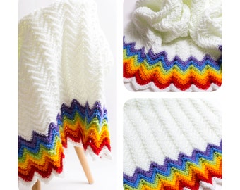 Handmade Bright Rainbow Chevron Crochet Baby Blanket