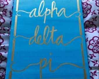 Alpha Delta Pi ADPI Customizable Ombre Sorority Canvas