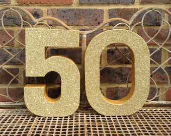 "12"" Gold glitter 50, Large Freestanding 30, 40, 50, 60, 70, 80, 30th, 40th, 50th, 60th, 70, 80th Birthday Party Decor"