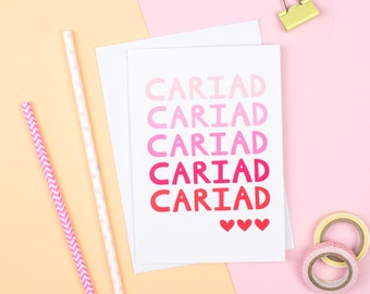 Cariad 'Love' card - Valentines card - Welsh Card - Welsh Valentine Card - Welsh Wedding Card - Welsh Engagement Card - Welsh Language Card