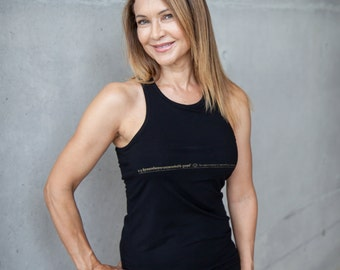 High-Necked Yoga Tank with Built-In Bra