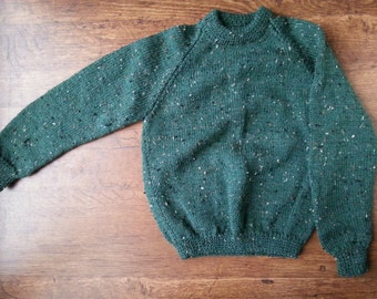 Knitted Childrens Jumper - hand knitted, green flecked/speckled, sweater/cardigan